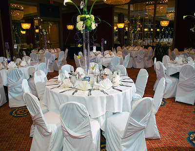 Banquet space set for wedding
